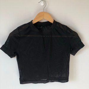 Urban Outfitters Black Mesh Short Sleeve Crop Top